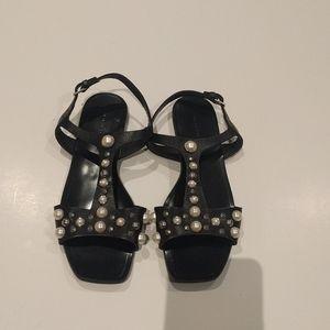 Zara black sandals genuine leather 🍀